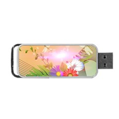 Wonderful Colorful Flowers With Dragonflies Portable USB Flash (Two Sides)