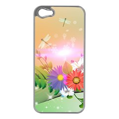 Wonderful Colorful Flowers With Dragonflies Apple iPhone 5 Case (Silver)