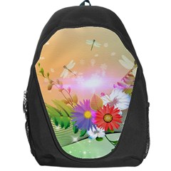 Wonderful Colorful Flowers With Dragonflies Backpack Bag
