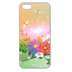 Wonderful Colorful Flowers With Dragonflies Apple Seamless iPhone 5 Case (Clear)