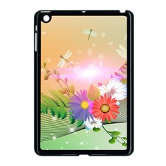 Wonderful Colorful Flowers With Dragonflies Apple iPad Mini Case (Black)
