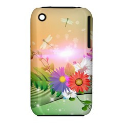 Wonderful Colorful Flowers With Dragonflies Apple iPhone 3G/3GS Hardshell Case (PC+Silicone)