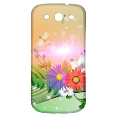 Wonderful Colorful Flowers With Dragonflies Samsung Galaxy S3 S III Classic Hardshell Back Case