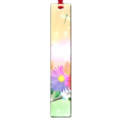 Wonderful Colorful Flowers With Dragonflies Large Book Marks