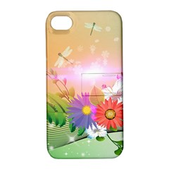 Wonderful Colorful Flowers With Dragonflies Apple iPhone 4/4S Hardshell Case with Stand