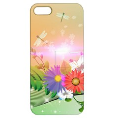 Wonderful Colorful Flowers With Dragonflies Apple iPhone 5 Hardshell Case with Stand