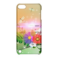 Wonderful Colorful Flowers With Dragonflies Apple iPod Touch 5 Hardshell Case with Stand
