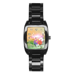 Wonderful Colorful Flowers With Dragonflies Stainless Steel Barrel Watch