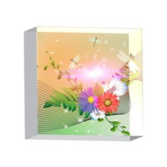 Wonderful Colorful Flowers With Dragonflies 4 x 4  Acrylic Photo Blocks