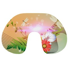 Wonderful Colorful Flowers With Dragonflies Travel Neck Pillows