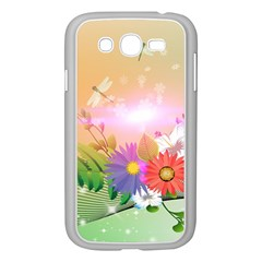 Wonderful Colorful Flowers With Dragonflies Samsung Galaxy Grand DUOS I9082 Case (White)