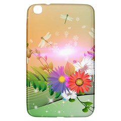 Wonderful Colorful Flowers With Dragonflies Samsung Galaxy Tab 3 (8 ) T3100 Hardshell Case