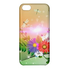 Wonderful Colorful Flowers With Dragonflies Apple iPhone 5C Hardshell Case