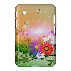Wonderful Colorful Flowers With Dragonflies Samsung Galaxy Tab 2 (7 ) P3100 Hardshell Case