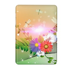 Wonderful Colorful Flowers With Dragonflies Samsung Galaxy Tab 2 (10.1 ) P5100 Hardshell Case