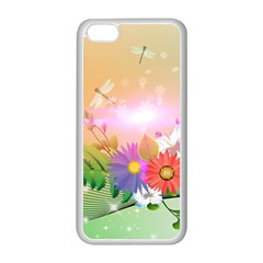 Wonderful Colorful Flowers With Dragonflies Apple Iphone 5c Seamless Case (white)