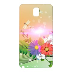 Wonderful Colorful Flowers With Dragonflies Samsung Galaxy Note 3 N9005 Hardshell Back Case