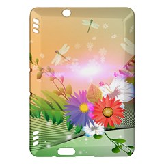 Wonderful Colorful Flowers With Dragonflies Kindle Fire HDX Hardshell Case