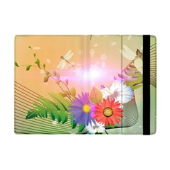 Wonderful Colorful Flowers With Dragonflies iPad Mini 2 Flip Cases