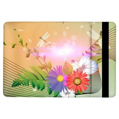 Wonderful Colorful Flowers With Dragonflies Ipad Air Flip