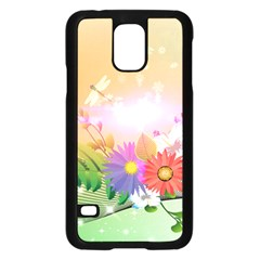 Wonderful Colorful Flowers With Dragonflies Samsung Galaxy S5 Case (Black)