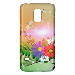 Wonderful Colorful Flowers With Dragonflies Galaxy S5 Mini