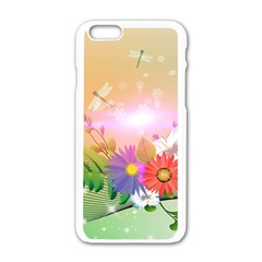 Wonderful Colorful Flowers With Dragonflies Apple iPhone 6/6S White Enamel Case
