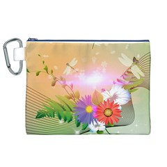 Wonderful Colorful Flowers With Dragonflies Canvas Cosmetic Bag (XL)