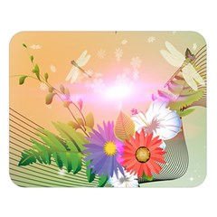 Wonderful Colorful Flowers With Dragonflies Double Sided Flano Blanket (Large)
