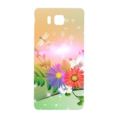 Wonderful Colorful Flowers With Dragonflies Samsung Galaxy Alpha Hardshell Back Case