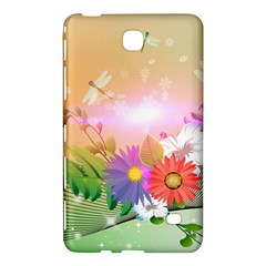 Wonderful Colorful Flowers With Dragonflies Samsung Galaxy Tab 4 (8 ) Hardshell Case
