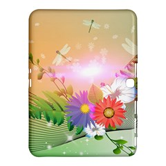 Wonderful Colorful Flowers With Dragonflies Samsung Galaxy Tab 4 (10.1 ) Hardshell Case
