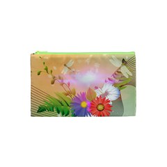 Wonderful Colorful Flowers With Dragonflies Cosmetic Bag (XS)