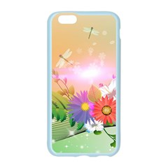 Wonderful Colorful Flowers With Dragonflies Apple Seamless iPhone 6/6S Case (Color)