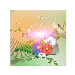 Wonderful Colorful Flowers With Dragonflies Small Satin Scarf (square)
