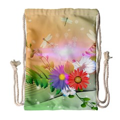Wonderful Colorful Flowers With Dragonflies Drawstring Bag (Large)