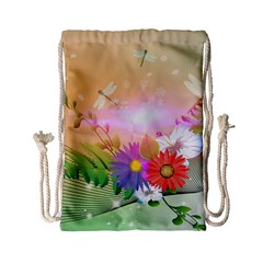 Wonderful Colorful Flowers With Dragonflies Drawstring Bag (Small)