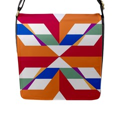Shapes in triangles Flap Closure Messenger Bag (L)