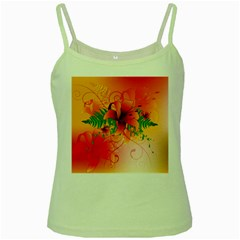 Awesome Red Flowers With Leaves Green Spaghetti Tanks
