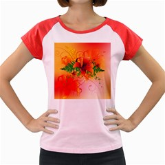 Awesome Red Flowers With Leaves Women s Cap Sleeve T Shirt