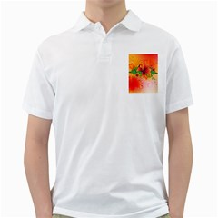 Awesome Red Flowers With Leaves Golf Shirts