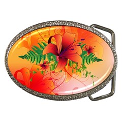 Awesome Red Flowers With Leaves Belt Buckles