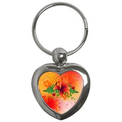 Awesome Red Flowers With Leaves Key Chains (Heart)