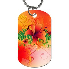 Awesome Red Flowers With Leaves Dog Tag (Two Sides)