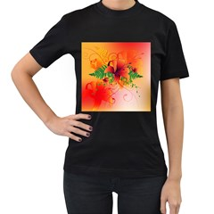 Awesome Red Flowers With Leaves Women s T-Shirt (Black) (Two Sided)