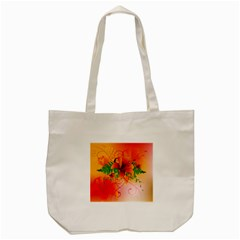 Awesome Red Flowers With Leaves Tote Bag (Cream)