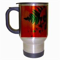 Awesome Red Flowers With Leaves Travel Mug (silver Gray)