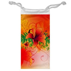 Awesome Red Flowers With Leaves Jewelry Bags