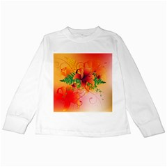 Awesome Red Flowers With Leaves Kids Long Sleeve T Shirts