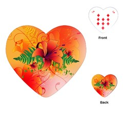 Awesome Red Flowers With Leaves Playing Cards (Heart)